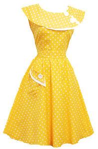 Rosa-Rosa-Vintage-1950s-retro-amarillo-Lunares-Rockabilly-Fiesta-Baile-Swing