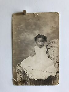 Americana-African-American-Happy-Baby-Girl-Gown-Photo-Black-White-1916-WW1-W21