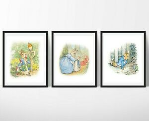 3 impresiones de vivero de Peter Rabbit Beatrix Potter de Arte para Decoración de Pared Fotos Bebé Regalo