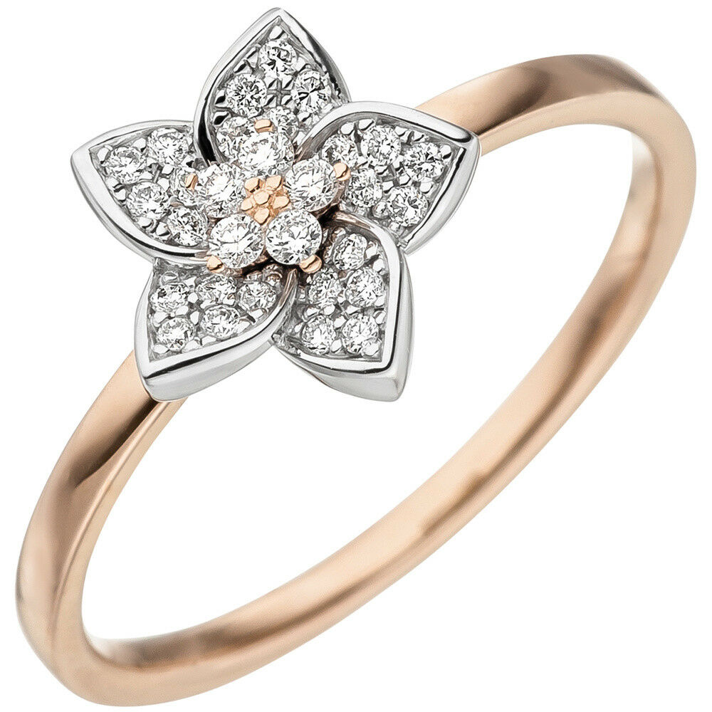 Ring goldring mit 30 Diamanten Brillanten blueme Blüte 585 gold redgold whitegold