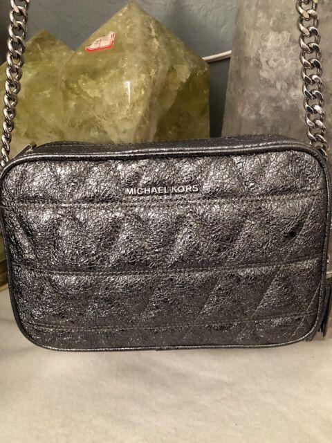 98822956c646dd NWT Michael Kors Ginny Quilted Medium Leather Camera Bag Crossbody Pewter  Silver
