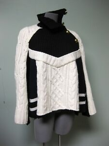 1040-Sacai-NEW-Black-Navy-Ivory-Stripes-Mixed-Cable-Knits-Trapeze-Sweater-3