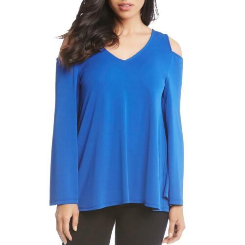 Karen Kane Womens Blue Cold Shoulder V-Neck Pullover Top Shirt XS BHFO 2714