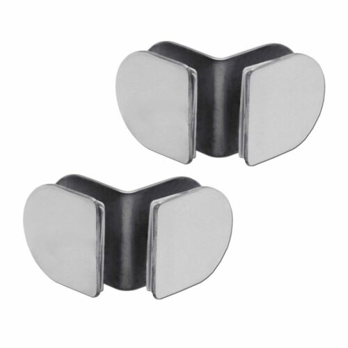 2 Stainless Steel Angle Corner Glass Holder Connector Clamp Shower Cabin Glossy
