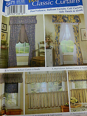 Drapes Panels Cafe Swag Window Treatment Simplicity Sewing Pattern UNCUT 8694