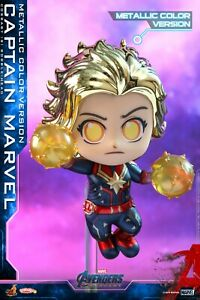 Hot Toys Avengers Endgame Captain Marvel//Hulk//Iron Man Cosbaby Bobble-Head Toy