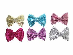 NEW-BEAUTIFUL-LARGE-GIRLS-SEQUIN-HAIR-BOW-CLIP-12CM-BIG-BOWS-PINK-GOLD-BOWS