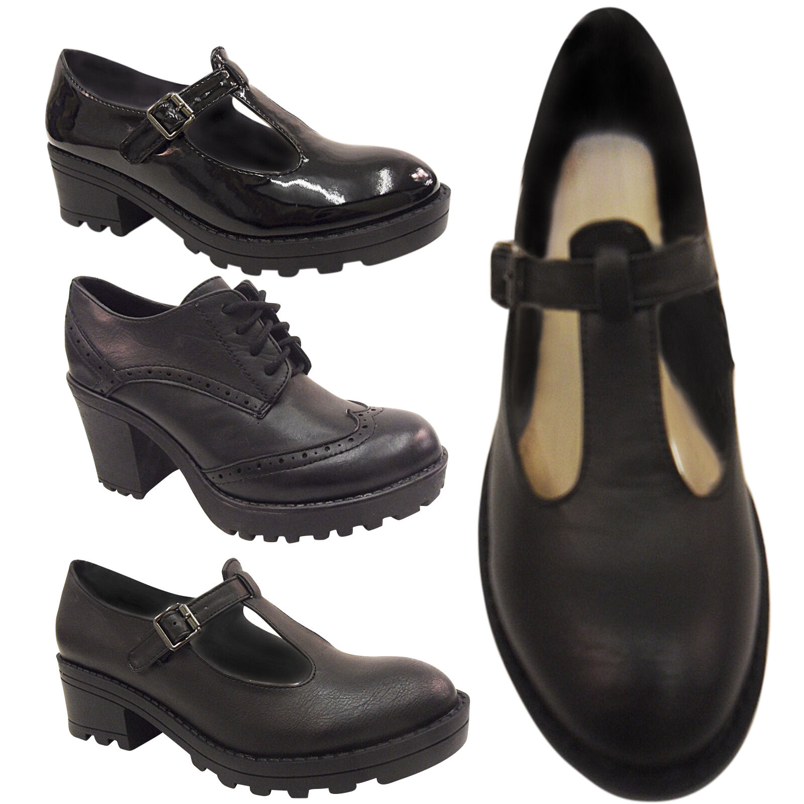 NEW LADIES MID BLOCK CHUNKY CLEATED HEEL T BAR BROGUE SCHOOL SHOE PLATFORM SIZE