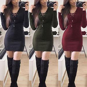 Damen-Longshirt-Pullover-Minikleid-Strickbluse-V-Ausschnitt-Party-Langarm-Kleid