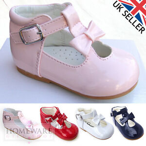 eb0b1ca9530 BABY GIRL T-BAR SPANISH STYLE PATENT BOW SHOES SIZE 1-6UK PINK