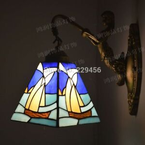 Details About Tiffany Wall Lamp Mediterranean Sea Sailboat Stained Gl Mermaid Sconces