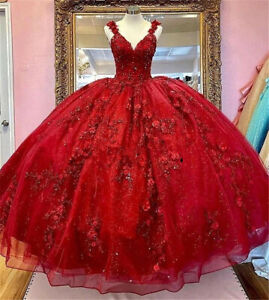 Red Quinceanera Dresses 3D Flowers Appliques Top Beaded Ball Gown Sweet 16 Dress