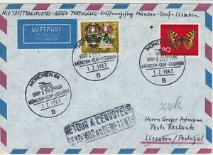 Germany 1963 Airmail Munchen First Flight Cancel Return Stamps Cover ref 22728