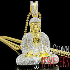10K Yellow Gold On Sterling Silver Lab Diamonds Meditating Buddha Pendant 2.25''