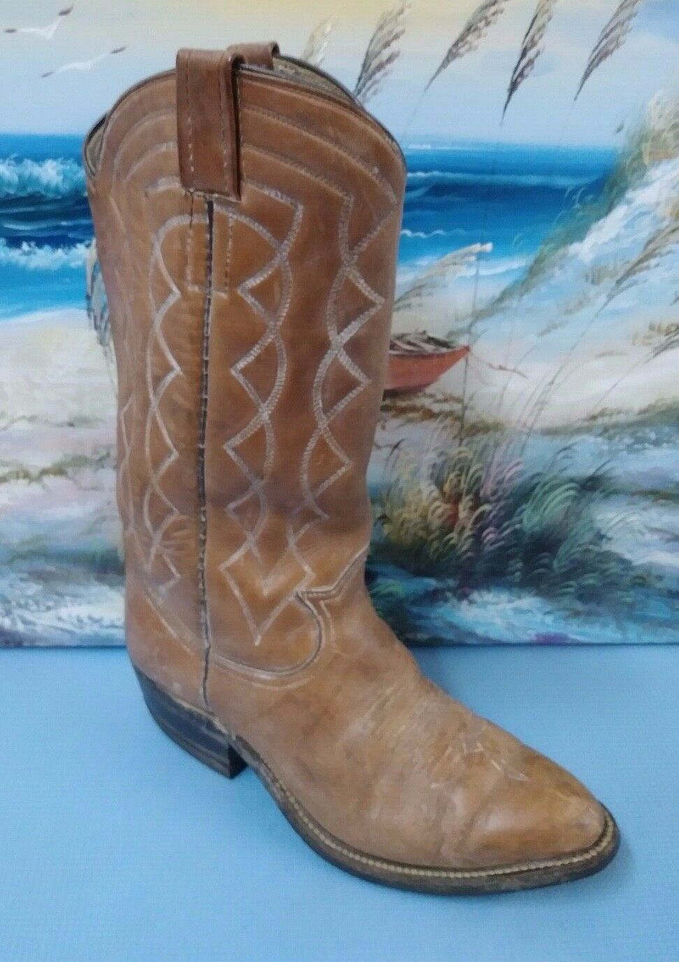 ACME VTG MENS BROWN  LEATHER COWBOY BOOTS SZ 8