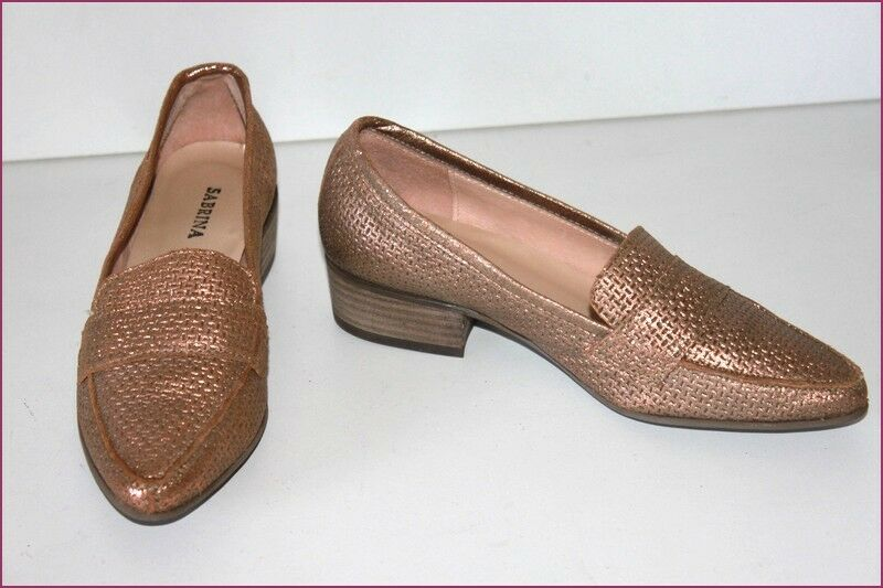 SABRINA Women Moccasins Leather Bronze T 35 VERY GOOD CONDITION