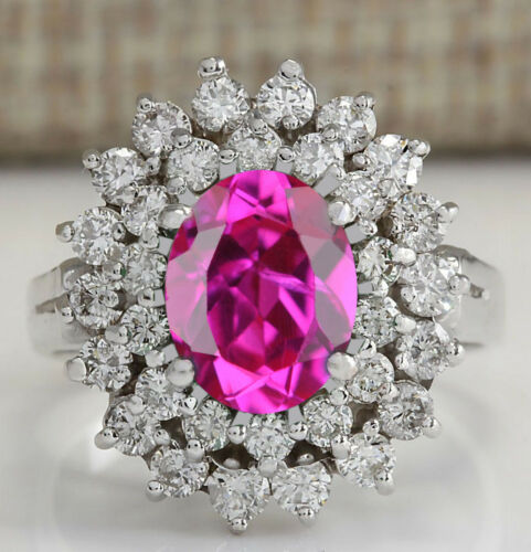2.00Ct Natural Pink Tourmaline Oval Cut In 925 Sterling Silver Solitaire Ring
