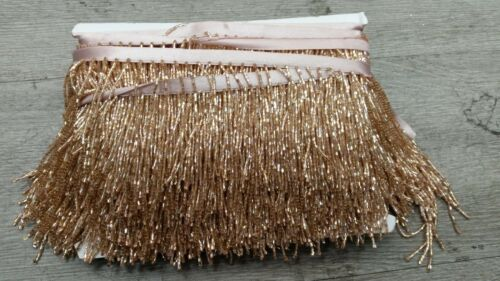 sold by 1 yard 6 inches custome dyed, seed bugle beaded fringe rose gold