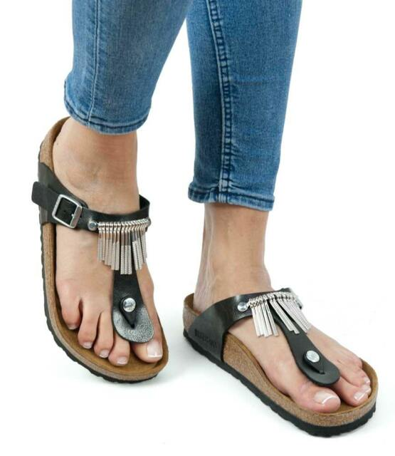 3b8008b469c Birkenstock Sandals Gizeh Fringe graceful licorice black regular fit  0745421 NEW