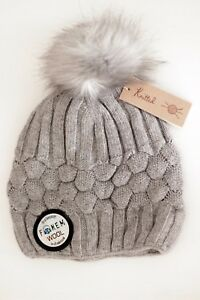 17fc5dcbacc Women s Lux Cable knit Wool Faux Fur Bobble Hat Pom Pom Light Grey ...