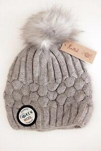 Women s Lux Cable knit Wool Faux Fur Bobble Hat Pom Pom Light Grey ... 529a894cb77