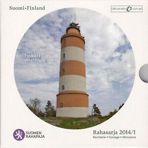 FINLANDE Coffret Rahasarja 2014/1 Phare d'Isokari 8 pièces + Médaille FDC