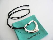 Tiffany & Co Peretti Silver Large Huge Open Heart Necklace Pendant Black Cord