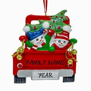 Personalized-Christmas-Ornament-Red-Pickup-Truck-Family-of-2-3-4-5-6-Holiday-G