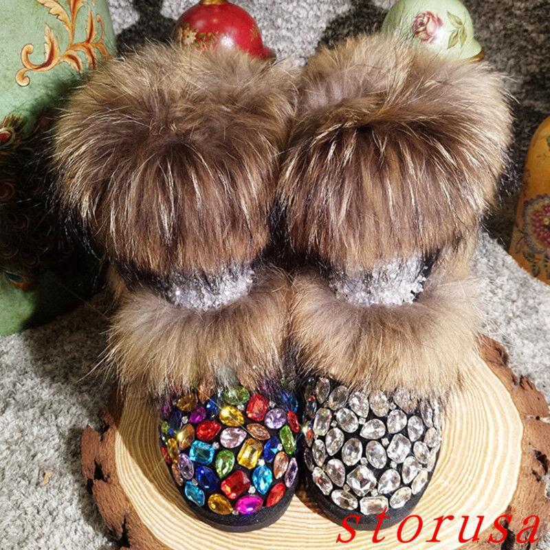 femmes Lady Real Fur Rainbow Rhinestone Mid Calf Snow bottes Warm Leather bottes