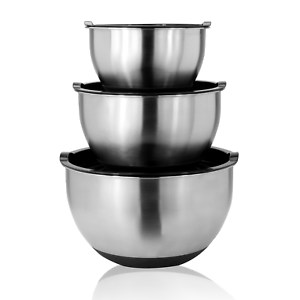 Space Home 22 /& 26 cm Silver Set of 3 Stainless Steel Deep Mixing Bowl Salad Bowls /& Serving Bowls 18