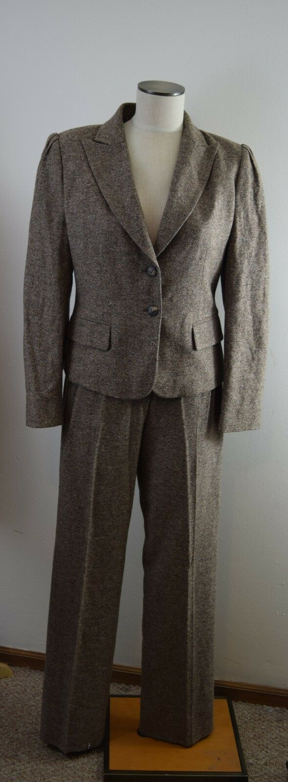 LES COPAINS Womens Tweed Elbow Patches Wool Blend  Pant SUIT 10