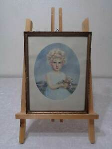 Antique-Print-with-Wood-Frame-Girl-with-Flower-Bouquet-Vintage-around-1920