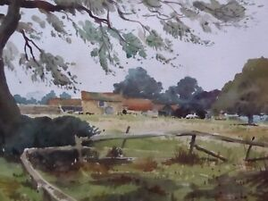 WATERCOLOUR-SUSSEX-FARM-ARTIST-WILFRED-CLAYFIELD-FREE-SHIPPING-ENGLAND
