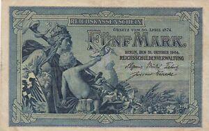 5-Mark-Reichskassenschein-1904-Deutsches-Reich-Deutschland-Ro-22a