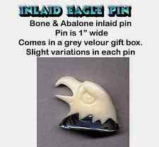 Hand carved Inlaid Abalone & Bone EAGLE HEAD Pin