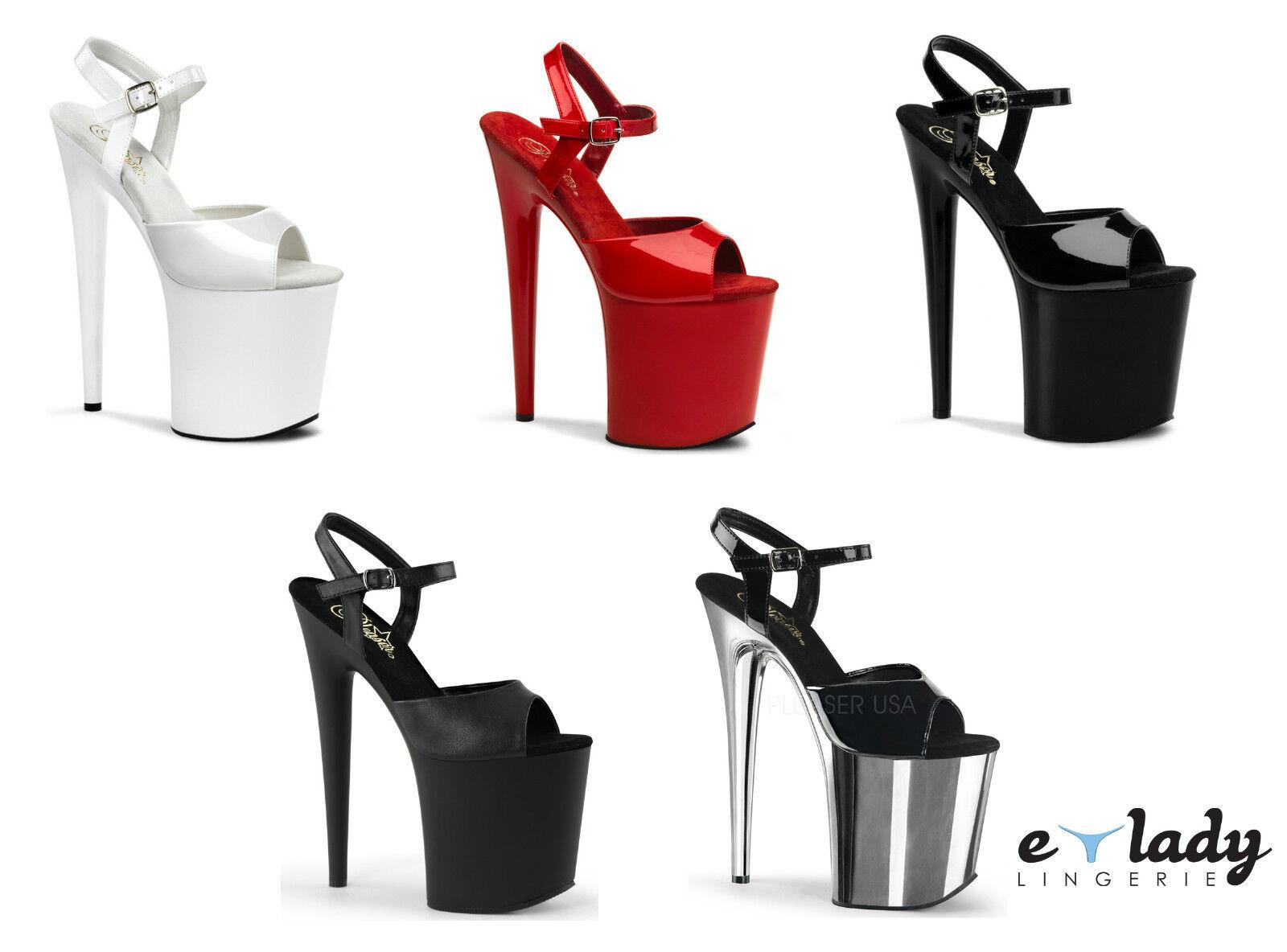 Pleaser Schuhes Flamingo-809 Platform Sandales Stiletto High Heels Ankle Strap NEU