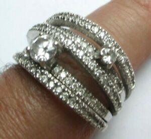 Inquiet Grande Superbe Bague Bijou En Argent 925 Zircon Blanc Cristaux Diamant Taille 59