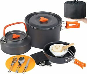 17 Pc Portable Camp Cookware Set, Camping Cooking Set Mess Kit Backpacking