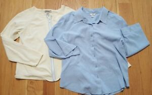 LOT-OF-2-Womens-Shirts-Large-L-Eddie-Bauer-Christopher-banks-Long-Sleeve-Casual