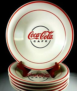 Coca-Cola-Cafe-Logo-6-Diner-Style-Soup-Pasta-Cereal-Bowls-White-Red-Bands-Coke