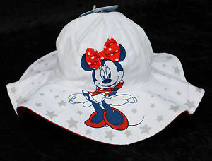 7cc0d71c9 Details about Disney White with Stars MINNIE MOUSE Infant Brim Baby Floppy  Bucket Sun Hat NWT