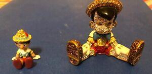 Disney LE PINOCCHIO Arribas Brother With Swarovski Crystals Lot 2 Vintage Rare