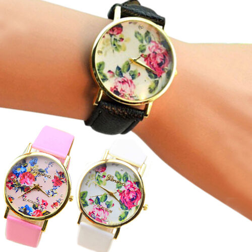 Women Lady Chic Faux Leather Geneva Rose Flower Dress Quartz Wrist Watch