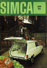 Simca 1100 Van 1971-72 UK Market Foldout Sales Brochure