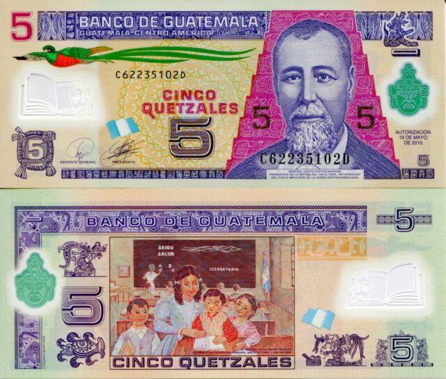 Guatemala 5 Quetzel Banknote World Currency Money Bill Polymer Note P122a Bird
