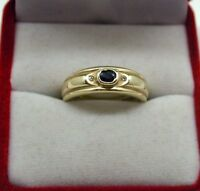 Very Nice 14ct Gold Sapphire And diamond ladies Ring Size L