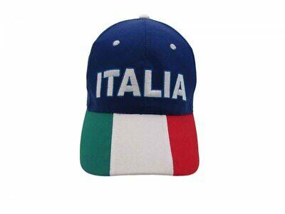 Brillante Cappello Italia Ricamato Misura 58 Cm Regolabile Blu Visiera Tricolore Azzurri