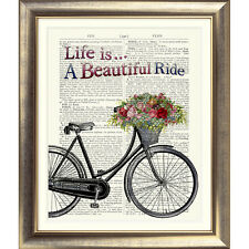 ART PRINT ON ORIGINAL ANTIQUE BOOK PAGE Vintage Bike Bicycle Dictionary flowers