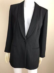 Women-039-s-Black-Pinstriped-Jones-New-York-Suit-Blazer-Jacket-Size-6-Pre-Owned