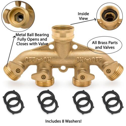 Morvat Heavy Duty Brass Garden Hose Connector 4 Way Tap Splitter